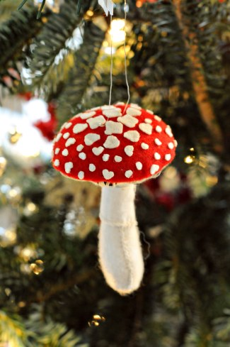 It's a modern-day tradition in many parts of Northern Europe and elsewhere in the world, to decorate the Christmas tree with ornaments of mushrooms